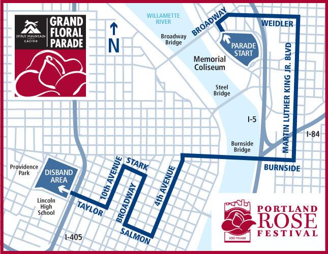 Portland Grand Floral Parade Route 2016