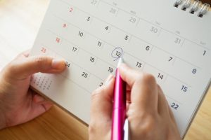 Ovulation takes place 14 days before your period.